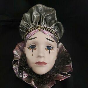 Vintage Mardi Gras Porcelain Ceramic Painted Wall Hanging Face Mask 9x11