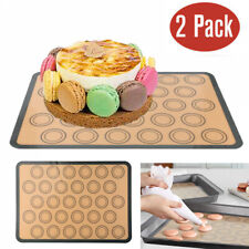 """2X Silicone Pastry Cake Macaron Oven Baking Mould Sheet Mat Non-Stick 17""""x12"""" US"""