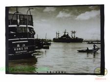 """Matted 8""""x6"""" old photograph Western warship in Huangpu River of ROC China 1949s"""