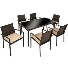 Ensemble Salon de jardin résine tressée poly rotin extérieur 6x chaises table ma