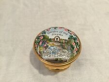 New listing Halcyon Days Enamels Trinket Pill Box floral flowers Garden Of My Dreams Blue