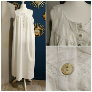 Vintage 1980 White Cotton Nightdress Nightie with Lace 14 / 16