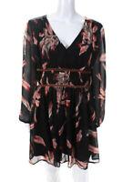 Entro Womens Long Sleeve V Neck Mini Floral Dress Black Pink Size Large