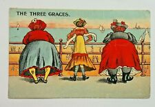 Vintage seaside humour p/card A & E Coppock Coronation series. 1908 THREE GRACES