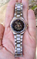 Vtg DUCKS UNLIMITED Wristwatch 2000 Sweda GOLD Quartz DU Black Watch RARE VG++