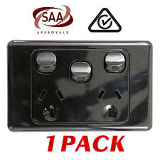 1 x Double 10AMP Power Point GPO with extra SWITCH - BLACK Electrical - SAA