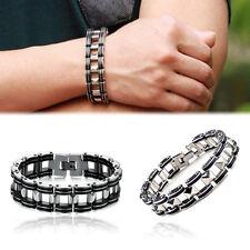 Men's Silver Stainless Steel Black Rubber Motorcycle Biker Chain Link Bracelet