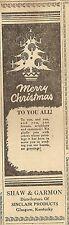 VINTAGE AD THE GLASGOW REPUBLICAN (KY) DECEMBER 23, 1954 - SHAW & GARMON