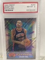 🔥 1994 Topps Finest w/ Coating #240 Grant Hills Pistons RC Rookie PSA 8 NM-MT