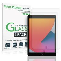 amFilm (2PK) Tempered Glass Screen Protector for iPad 8, 10.2, Air 3, & Pro 10.5