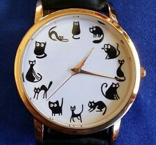 CATS Watch Fashion Black Kitty Funny Gold Wristwatch Womens Mens Mother's Gift