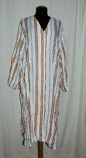 H&m Stylish Long Wide Maxi Dress Kaftan Linen Blend Beige Striped L