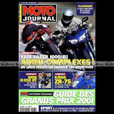 MOTO JOURNAL N°1465 YAMAHA YZF R1 & 1000 FAZER KAWASAKI ZR-7 S BMW R1150 RT 2001