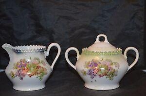 Antique P.K. SILESIA Porcelain Creamer & Sugar Bowl w. Grape Design. Blue Floral