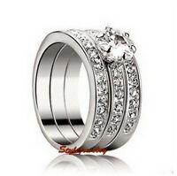 White Gold Plated Made with Swarovski Crystals Wedding Eternity Ring Set R184