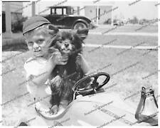 Vintage photo-Little Boy with Dog-Pedal Car-8x10 in.