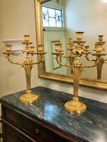 Paire de Candélabres Louis XVI en bronze ciselé et doré signés Fumiére et Cie