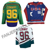 D1 D2 D3 The Mighty Ducks Movie Ice Hockey Jersey #96 Charlie Conway Size S-3XL