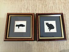 2 Etched Elegance Limited Edition signed silhouette prints Black Cats