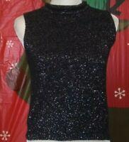 David Benjamin Women's Black Turtle Neck Vest W Glitter Size: S.