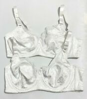 Lot of 2 Vintage Full Coverage Bras Size 42B White Lace Dynashape Intima