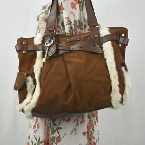 Fossil Brown Suede Fur Trim Large Shoulder Bag