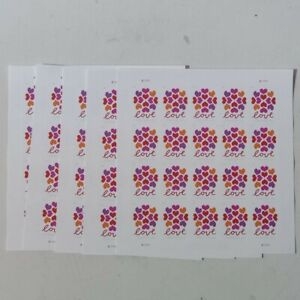 5 SHEETS OF (20) 2019 LOVE HEARTS BLOSSOM POSTAGE STAMPSFREE SHIPPING
