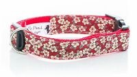 Liberty Red Fifi Floral Handmade Puppy Dog Collar OR Lead -Choice of sizes