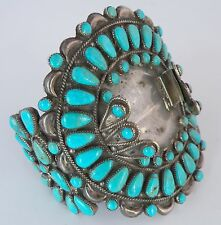 MASSIVE old Native American petit point Turquoise Sterling bracelet, watch band