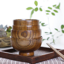 Japanese Style Wooden Bowl Soup Salad Rice Bowls Natural Wood Tableware For Kids
