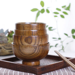 Japanese Style Wooden Bowl Soup Salad Rice Bowls For Kids Natural Wood Tableware