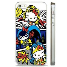 Hello Kitty Superhero Comic CLEAR PHONE CASE COVER fits iPHONE 5 6 7 8 X