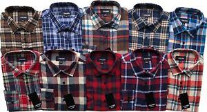 Mens Long Sleeve Flannel Lumberjack Check Causal Shirt Brushed Cotton M-6XL