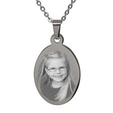 Personalised Photo/Text Engraved Oval Pendant Necklace. Stainless Steel