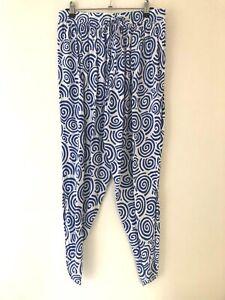 Boho Australia Brand Pants Sz S White with Blue Swirls EUC
