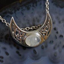 wunderschöner Druiden Mond Anhänger 925 Silber Peter Stone Mondsichel Mondstein