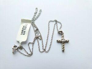 Gemporia/Gems TV - Sterling Silver 0.003ct Diamond Cross Pendant Necklace