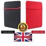 "Black & Red Reversible Neoprene Water Resistant Carry Case For 7"" Tablet Laptop"