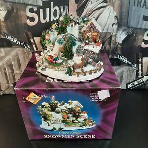 Vintage Premier Fibre Optic Christmas Snowmen Scene Village - Tested Working