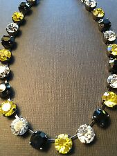 Pittsburgh Penguins Pirates Black & Gold Made With Swarovski Crystals Necklace