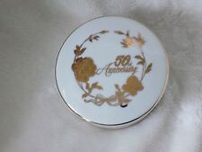 50th Anniversary Norcrest Fine Porcelain Gold Flower Design Covered Trinket Dish