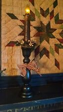 Primitive Style Black Candlestick w/ Flicker Taper and Candle Ring.