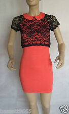 NEW TFNC CORAL BLACK LACE DETAIL PETER PAN COLLAR BODYCON DRESS SIZE 8-10 SMALL