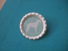 Handmade Deerhound Brooch Bottle Cap Badge Dog Puppy Scottish Silhouette Mint