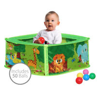 Charles Bentley Baby Safari Pop Up Play Pen Ball Pit Made of Polyester - 50 Ball