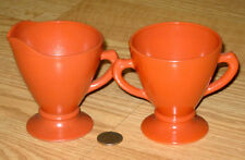 OVIDE orange RUST PLATONITE glass CREAMER pitcher & SUGAR bowl Hazel Atlas U.S.A