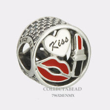 Authentic Pandora Sterling Silver Glamour Kiss Red Enamel & CZ Bead 796324ENMX