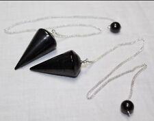 Shungite Pendulum Gemstone Specimen Reiki Chakra Anti Radiation Crystal Healing.