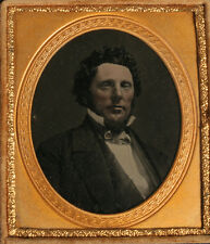 AMBROTYPE PORTRAIT OF MAN IN HIGH COLLAR, TINTED. 1/6 PLATE, UNION CASE.