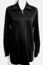 Sharon Young Womens Black Zip Front Ribbed Sueded Poly Spandex Jacket Size 18